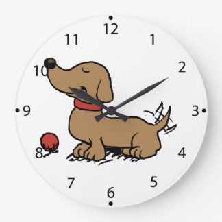 Happy dog wanting to play large clock