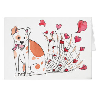 Happy Dog with Hearts Valentine Card