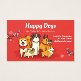 Happy Dogs Dog Sitting Business Cards