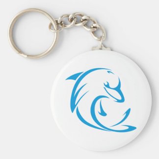 Happy Dolphin in Swing Drawing Style Basic Round Button Keychain