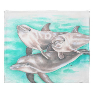 Happy Dolphins Teal Duvet Cover