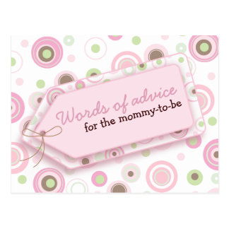 Happy Dots Words of Advice Card for Mom To Be Postcard