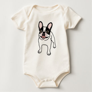 Happy Double Hooded Pied Frenchie Baby Bodysuit