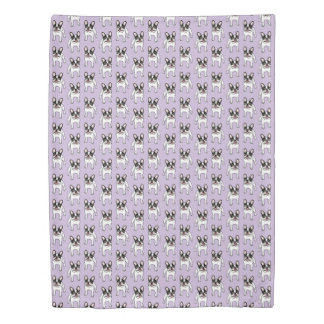 Happy Double Hooded Pied Frenchie Duvet Cover