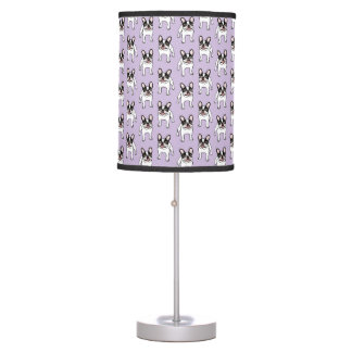 Happy Double Hooded Pied Frenchie Table Lamp