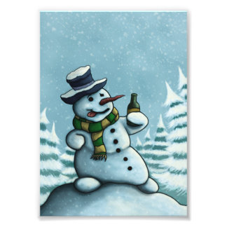 happy drinking snowman holiday photo print