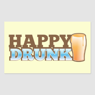 Happy Drunk! design with a beer and head Sticker
