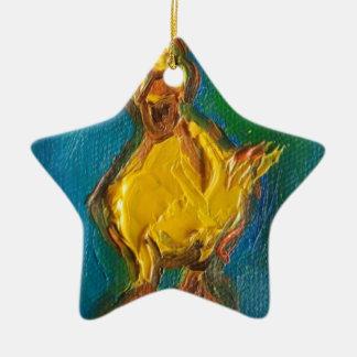 Happy Duck Ceramic Star Ornament
