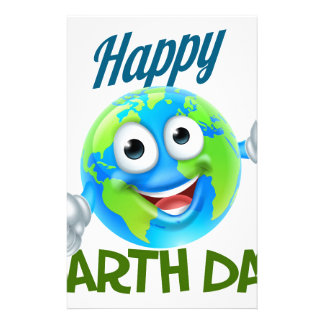 Happy Earth Day Cartoon Globe Mascot Design Stationery
