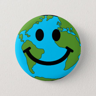 Happy Earth Smiley Face 2 Inch Round Button