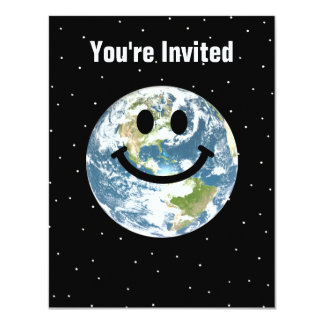 "Happy Earth smiley face 4.25"" X 5.5"" Invitation Card"