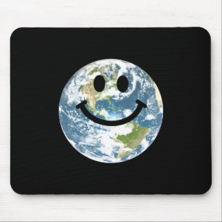 Happy Earth smiley face Mouse Pad