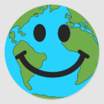 Happy Earth Smiley Face Round Sticker
