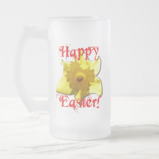 Happy Easter, 02.T Daffodils Frosted Glass Beer Mug