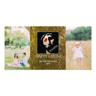 Happy Easter 2 Photos | Christian He Is Risen Photo Cards