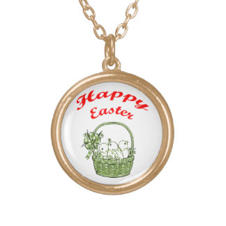 Happy Easter 4 Gold Plated Necklace