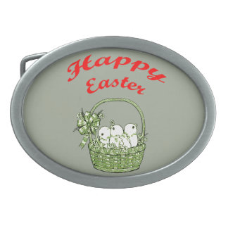 Happy Easter 4 Oval Belt Buckles