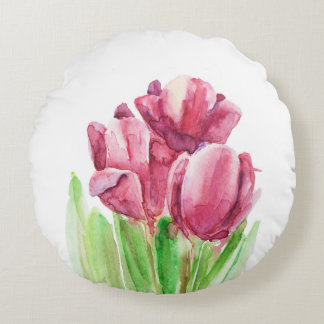 Happy Easter abstract pink tulips pillow. Round Pillow