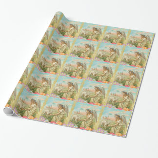 happy easter angel wrapping paper