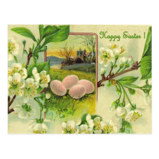 HAPPY EASTER APPLE BLOSSOMS AND EGGS POSTCARD