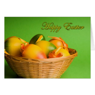 Happy Easter Basket of Wooden Eggs Card