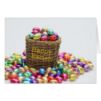 Happy Easter basket with eggs Card