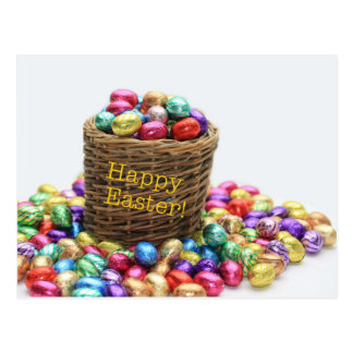 Happy Easter basket with eggs Postcards