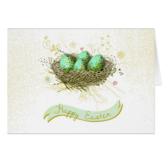 Happy Easter! - Birds nest with colorful eggs Card