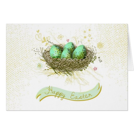 Happy Easter! - Birds nest with colourful eggs Card
