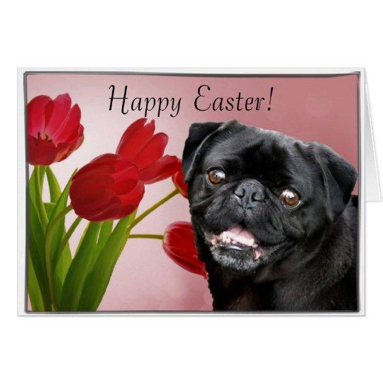 Happy Easter Black pug dog greeting card
