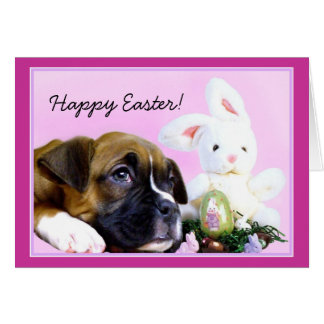 Happy Easter boxer puppy and bunny greeting card