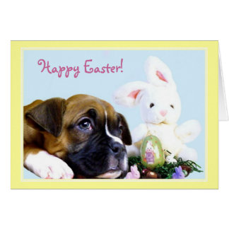 Happy Easter Boxer puppy greeting card