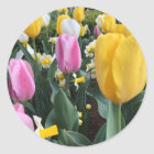 Happy Easter Bright Yellow Tulips Sticker