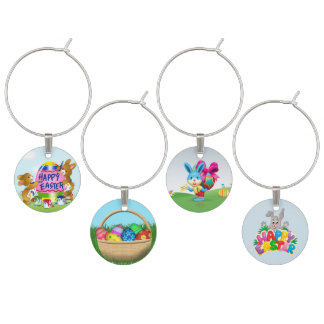 Happy Easter Bunnies and decorative eggs Wine Charm