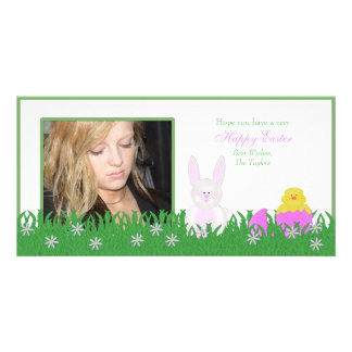 Happy Easter Bunny and Baby Duck Photo Card