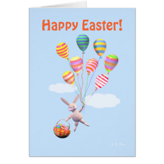Happy Easter Bunny and Balloons Card