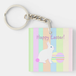 Happy Easter Bunny and Eggs on Stripes Acrylic Key Chain