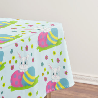 Happy Easter Bunny and Eggs Tablecloth
