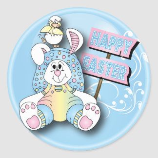 Happy Easter Bunny and Friend Round Sticker