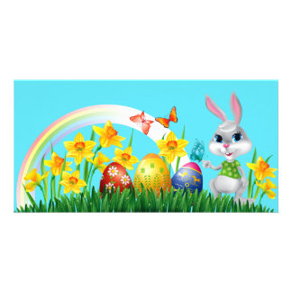 Happy Easter Bunny Background Card