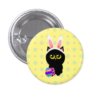 Happy Easter Bunny Cat 1 Inch Round Button