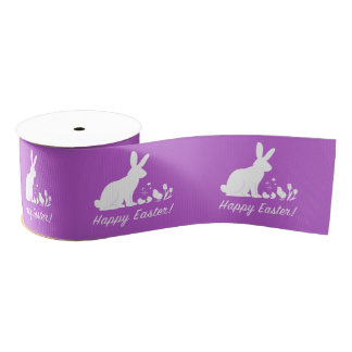 """Happy Easter Bunny, Chick and Tulips 1.5"""" Grosgrain Ribbon"""