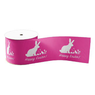 """Happy Easter Bunny, Chick and Tulips 3"""" Grosgrain Ribbon"""