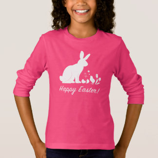 Happy Easter Bunny, Chick and Tulips in Silhouette T-Shirt