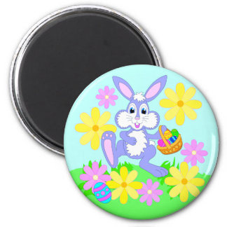 Happy Easter Bunny Cute Cartoon Rabbit Flowers 2 Inch Round Magnet
