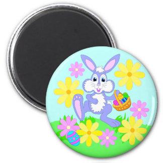 Happy Easter Bunny Cute Cartoon Rabbit Flowers Magnet