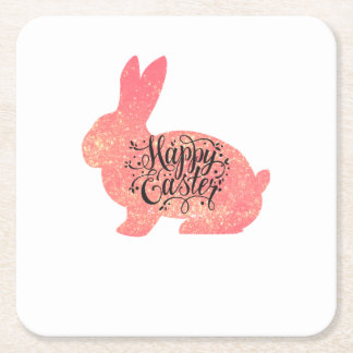 Happy Easter Bunny Funny Kids Women Men Square Paper Coaster