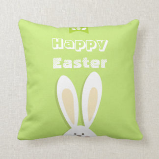 Happy Easter Bunny Greeting Throw Pillows