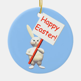 Happy Easter Bunny Greets Double-Sided Ceramic Round Christmas Ornament