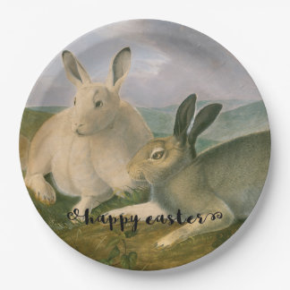 Happy Easter Bunny Hare Couple Vintage Watercolor 9 Inch Paper Plate